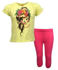 """Σετ κοντομάνικη μπλούζα κίτρινη με φόρμα παντελόνι φούξια """"Ladybug"""""""
