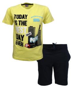 """Σετ κοντομάνικη μπλούζα κίτρινη με φόρμα σορτσάκι μαύρη """"Today is the Best Day Ever"""""""