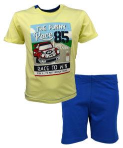 """Σετ κοντομάνικη μπλούζα κιτρινη με φόρμα βερμούδα μπλε """"The Funny Pace"""""""