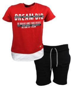 """Σετ κοντομάνικη μπλούζα κόκκινη με βερμούδα μαύρη """"Gang Society"""""""