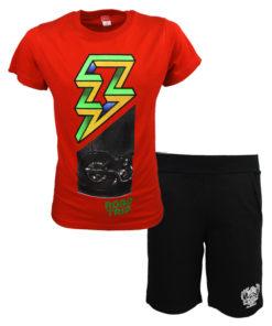 """Σετ κοντομάνικη μπλούζα κόκκινη με βερμούδα μαύρη """"Roadtrip"""""""