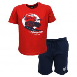 """Σετ κοντομάνικη μπλούζα κόκκινη με βερμούδα μπλε """"Super Race"""""""