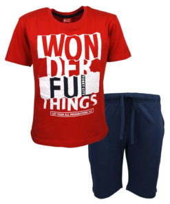 """Σετ κοντομάνικη μπλούζα κόκκινη με βερμούδα μπλε """"Wonderful"""""""