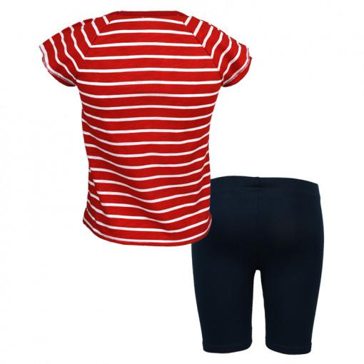 """Σετ κοντομάνικη μπλούζα κόκκινη με κολάν κάπρι μπλε """"Καρδιά"""" πίσω μέρος"""