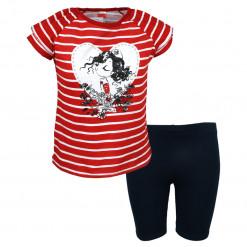 """Σετ κοντομάνικη μπλούζα κόκκινη με κολάν κάπρι μπλε """"Καρδιά"""""""