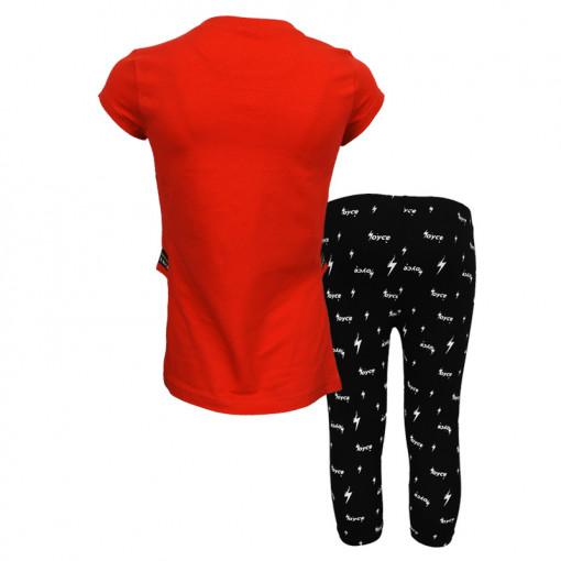 """Σετ κοντομάνικη μπλούζα κόκκινη με κολάν μαύρο """"Girls Rock"""" πίσω μέρος"""