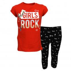 """Σετ κοντομάνικη μπλούζα κόκκινη με κολάν μαύρο """"Girls Rock"""""""