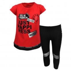 """Σετ κοντομάνικη μπλούζα κόκκινη με κολάν μαύρο """"Just Happiness"""""""