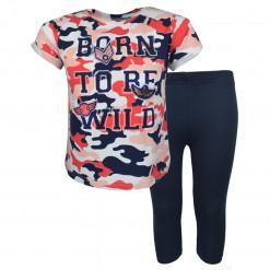 """Σετ κοντομάνικη μπλούζα κόκκινη με μπλε κολάν """"Born To Be Wild"""""""
