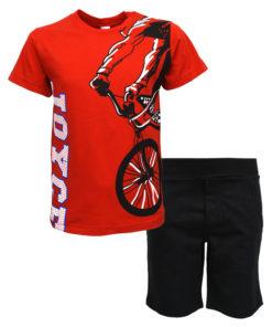 """Σετ κοντομάνικη μπλούζα κόκκινη με φόρμα βερμούδα μαύρη """"Ποδήλατο"""""""