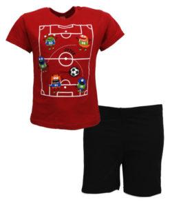 """Σετ κοντομάνικη μπλούζα κόκκινη με φόρμα βερμούδα μαύρη """"Τερατάκια"""""""