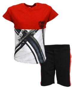 """Σετ κοντομάνικη μπλούζα κόκκινη με φόρμα βερμούδα μαύρη """"Born To Ride"""""""
