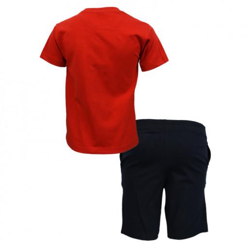 """Σετ-κοντομάνικη-μπλούζα-κόκκινη-με-φόρμα-βερμούδα-μαύρη-""""Ride-the-Wave""""-πίσω-μέρος"""