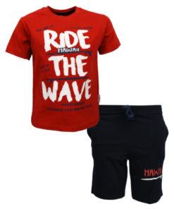 """Σετ κοντομάνικη μπλούζα κόκκινη με φόρμα βερμούδα μαύρη """"Ride the Wave"""""""