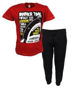 """Σετ κοντομάνικη μπλούζα κόκκινη με φόρμα μαύρη """"Dinner Time"""""""