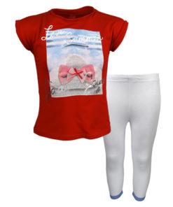 """Σετ κοντομάνικη μπλούζα κόκκινη με φόρμα παντελόνι λευκό """"Love Summer"""""""