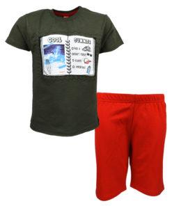 """Σετ κοντομάνικη μπλούζα λαδί με βερμούδα σορτσάκι κόκκινο """"Cool Summer"""""""