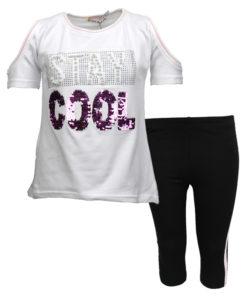 """Σετ κοντομάνικη μπλούζα λευκή με ανοιχτούς ώμους και κολάν μαύρο """"Stay Cool"""""""