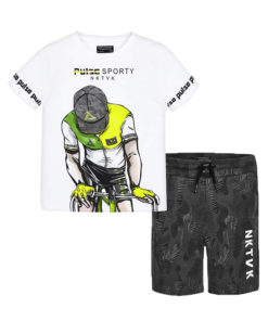 """Σετ κοντομάνικη μπλούζα λευκή με βερμούδα γκρι """"Pulse Sporty"""""""
