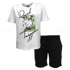 """Σετ κοντομάνικη μπλούζα λευκή με βερμούδα μαύρη """"Road"""""""