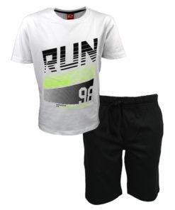 """Σετ κοντομάνικη μπλούζα λευκή με βερμούδα μαύρη """"Run 98"""""""