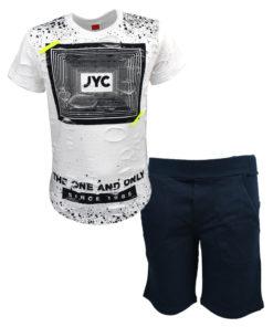 """Σετ κοντομάνικη μπλούζα λευκή με βερμούδα μπλε """"JYC"""""""