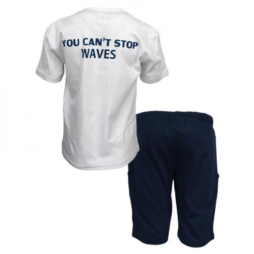 """Σετ κοντομάνικη μπλούζα λευκή με βερμούδα μπλε """"You Cant Stop Waves"""" πίσω μέρος"""