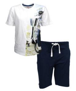 """Σετ κοντομάνικη μπλούζα λευκή με βερμούδα μπλε """"You Cant Stop Waves"""""""