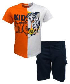 """Σετ κοντομάνικη μπλούζα λευκή με βερμούδα φόρμα μπλε """"Kids"""""""
