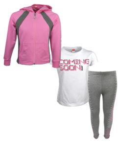 """Σετ κοντομάνικη μπλούζα λευκή με ζακέτα ροζ και κολάν γκρι """"Coming Soon"""""""