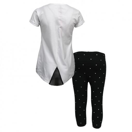 """Σετ κοντομάνικη μπλούζα λευκή με κολάν κάπρι μαύρο """"Paris Perfums"""" πίσω μέρος"""