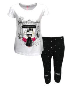 """Σετ κοντομάνικη μπλούζα λευκή με κολάν κάπρι μαύρο """"Paris Perfums"""""""