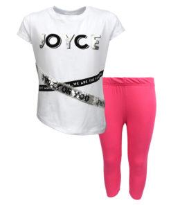"""Σετ κοντομάνικη μπλούζα λευκή με κολάν κάπρι φούξια """"Joyce"""""""