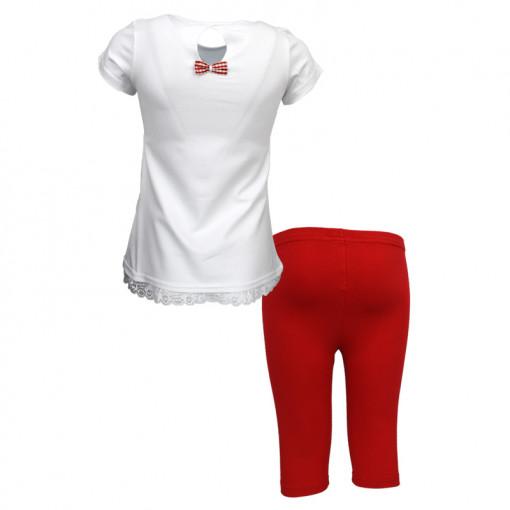 """Σετ κοντομάνικη μπλούζα λευκή με κολάν κόκκινο """"Mon Cherie"""" πίσω μέρος"""