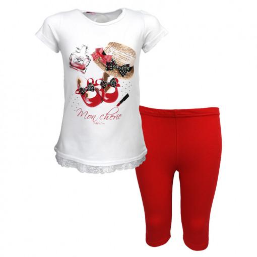 """Σετ κοντομάνικη μπλούζα λευκή με κολάν κόκκινο """"Mon Cherie"""""""