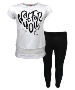 """Σετ κοντομάνικη μπλούζα λευκή με κολάν μαύρο """"Not For You"""""""