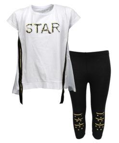 """Σετ κοντομάνικη μπλούζα λευκή με κολάν μαύρο """"Star"""""""