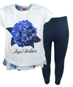 Σετ κοντομάνικη μπλούζα λευκή με κολάν μπλε