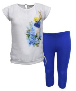 """Σετ κοντομάνικη μπλούζα λευκή με κολάν μπλε """"Κορίτσι με μπουκέτο λουλουδιών"""""""