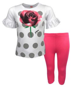 """Σετ κοντομάνικη μπλούζα λευκή με κολάν φούξια """"Τριαντάφυλλο"""""""