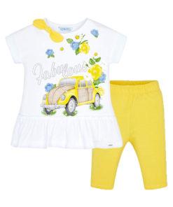 """Σετ κοντομάνικη μπλούζα λευκή με παντελόνι κίτρινο """"Αυτοκίνητο"""""""