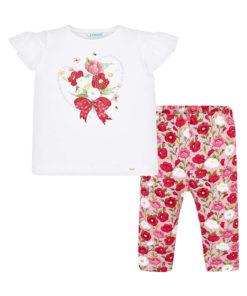 """Σετ κοντομάνικη μπλούζα λευκή με παντελόνι ροζ """"Λουλουδάκια"""""""