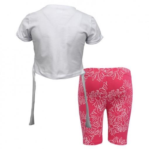"""Σετ κοντομάνικη μπλούζα λευκή με ποδηλατικό κολάν ροζ """"Magnifiques"""" πίσω μέρος"""