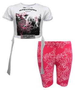 """Σετ κοντομάνικη μπλούζα λευκή με ποδηλατικό κολάν ροζ """"Magnifiques"""""""