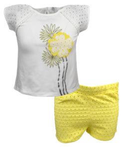 """Σετ κοντομάνικη μπλούζα λευκή με σορτσάκι κίτρινο """"Λουλούδι"""""""