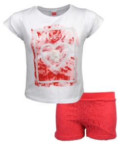 """Σετ κοντομάνικη μπλούζα λευκή με σορτσάκι κοραλλί """"Wonderful"""""""