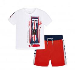 """Σετ κοντομάνικη μπλούζα λευκή με σορτσάκι κόκκινο """"Powerboat"""""""