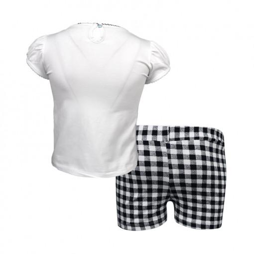 """Σετ κοντομάνικη μπλούζα λευκή με σορτσάκι μαύρο """"Κορίτσι"""" πίσω μέρος"""
