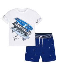 """Σετ κοντομάνικη μπλούζα λευκή με σορτσάκι μπλε """"Skateboard"""""""