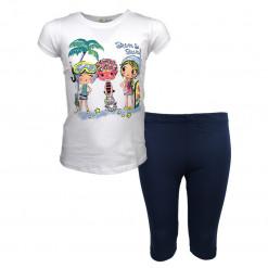 """Σετ κοντομάνικη μπλούζα λευκή με σορτσάκι μπλε """"Sun And Surf"""""""